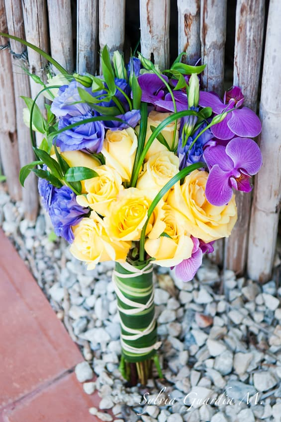 colorful beach wedding bouquet