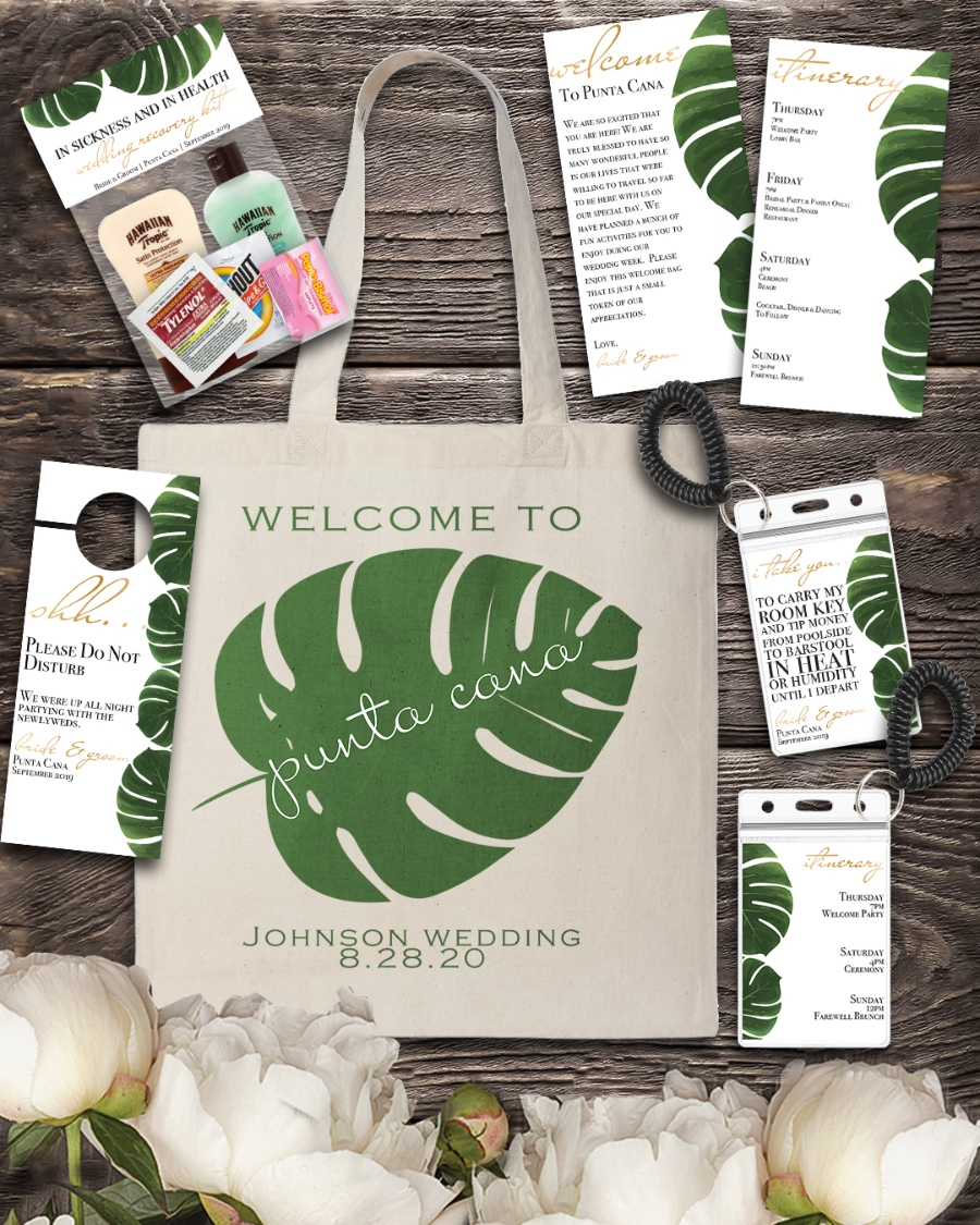 creative Destination wedding welcome bag