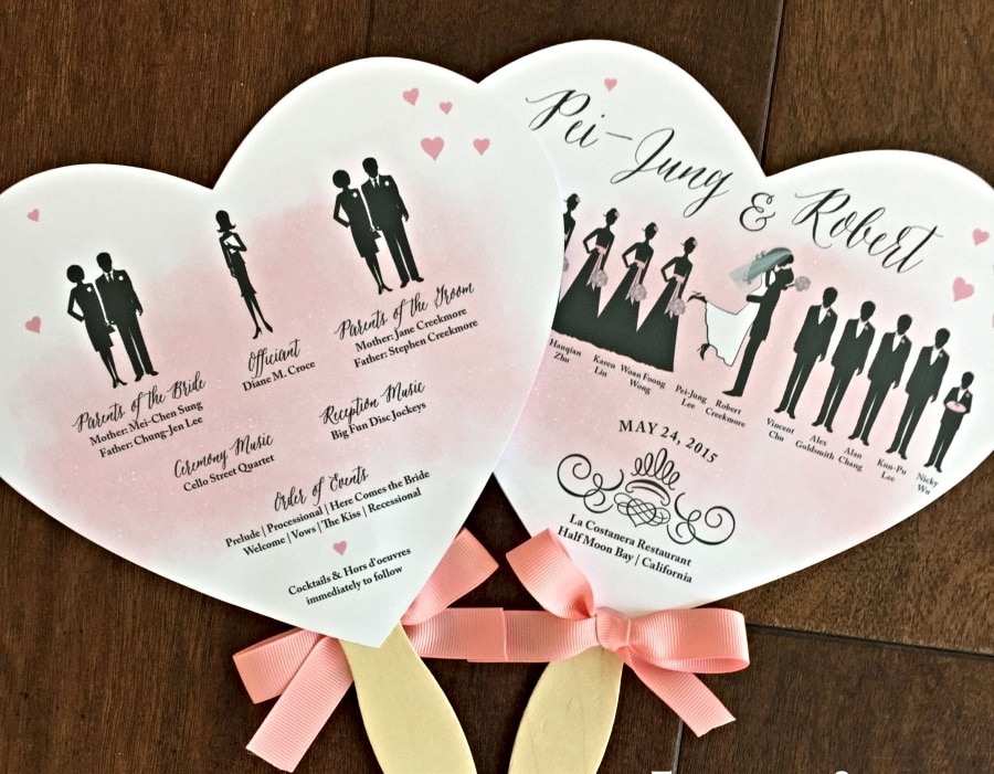 custom heart wedding program