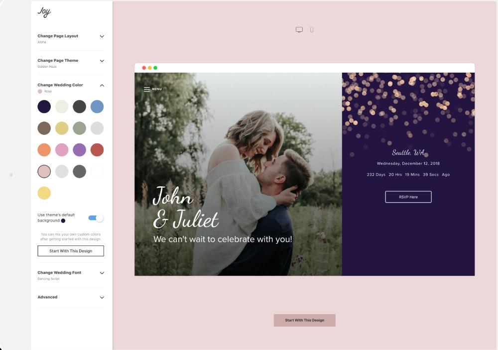 destination wedding Website Editor 1