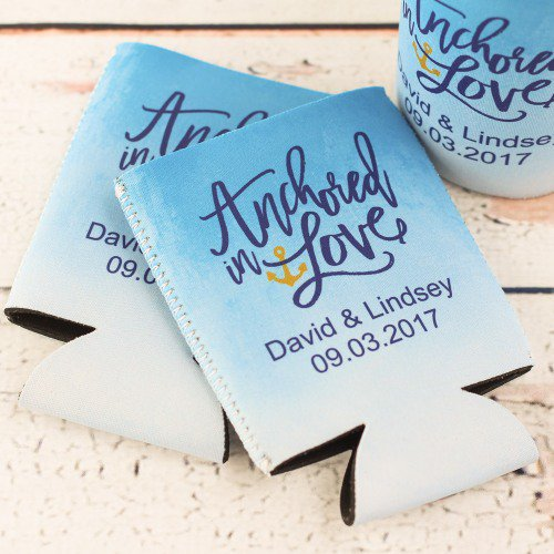 destination wedding favor beer can sleeves