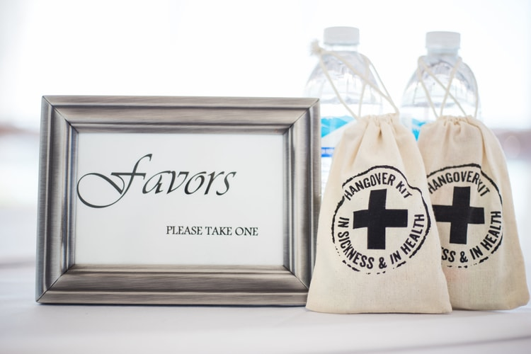 destination wedding favors hangover kits