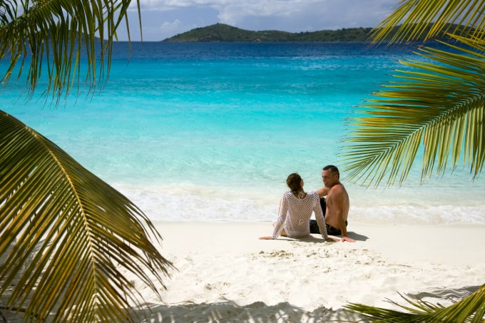 couple enjoying vacation on beautiful beach in the caribbean