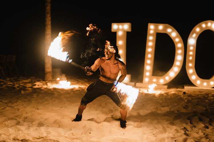 destination wedding ideas - firedancers