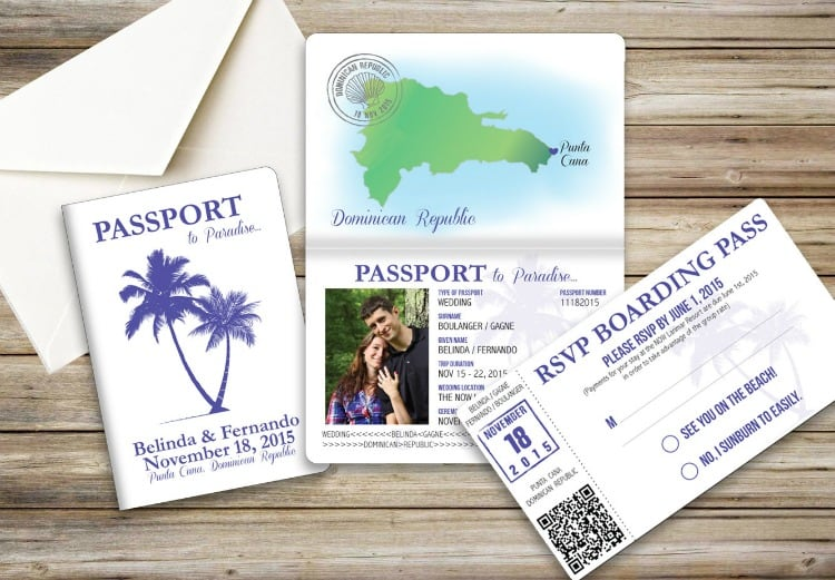 destination wedding ideas passport invitations