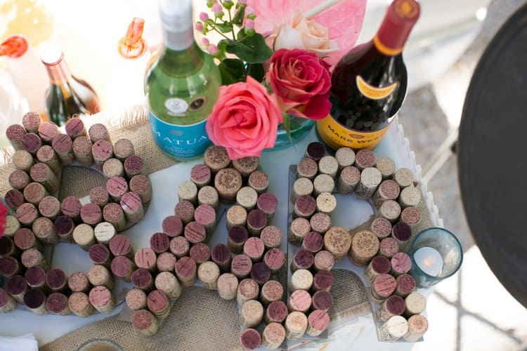 wine cork wedding decorations