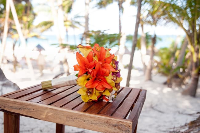 Tropical beach wedding bouquet