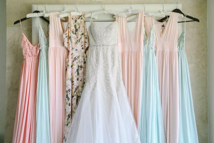 Beautiful pastel beach bridesmaid dresses