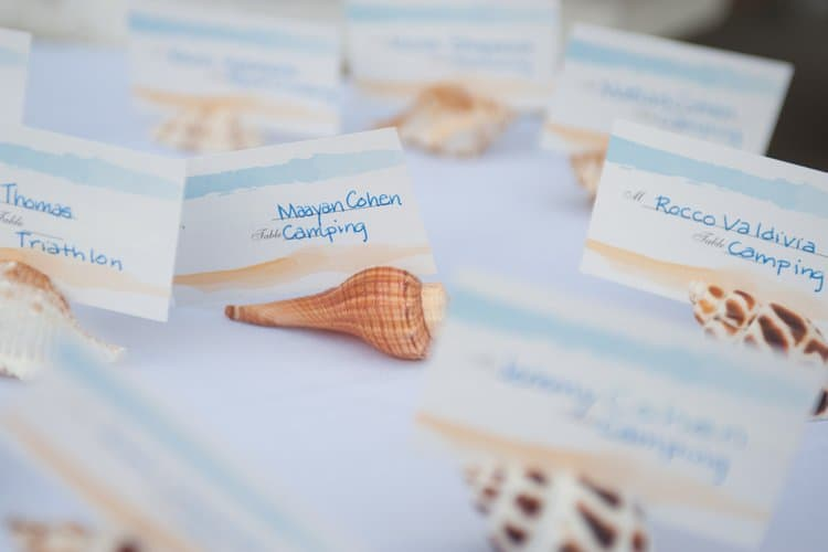 Beach themed seating cards
