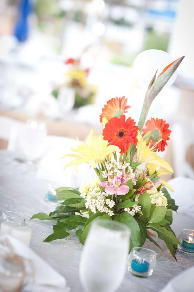 Bahamas beach wedding centerpieces