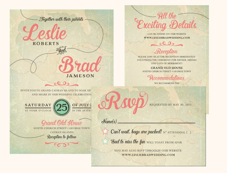 destination wedding invitation wording example multi card