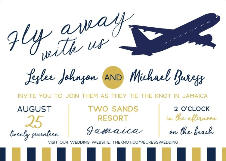 Destination Wedding Invitation Wording Example With Wedsite