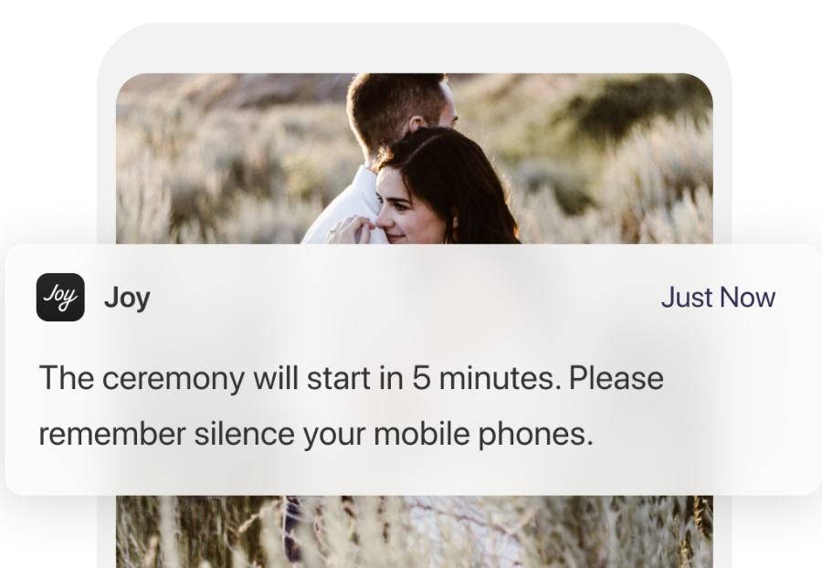 destination wedding website app Push Notifications