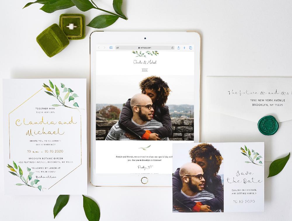 destination wedding website matching invitations