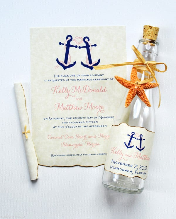 destination weddng invitation in a bottle
