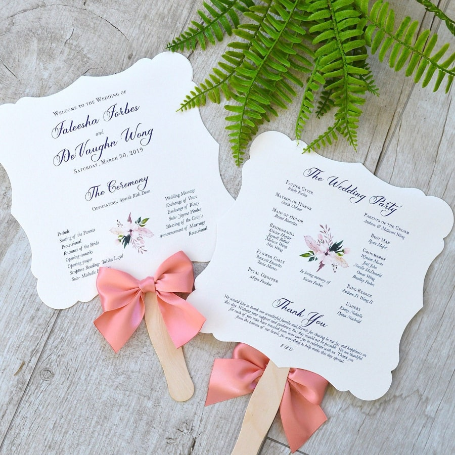 die cut wedding program fans