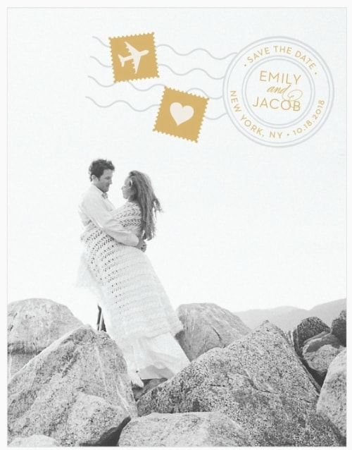 foil destination wedding save the date