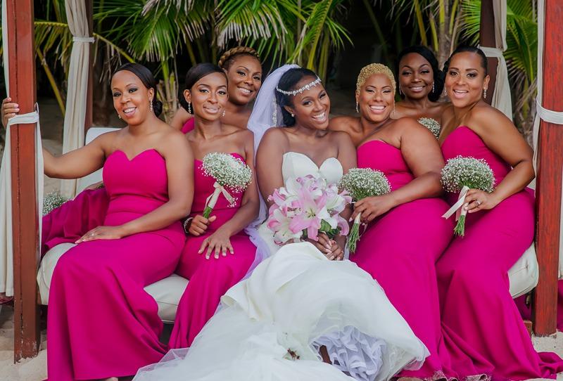 fuschia beach bridesmaid dresses