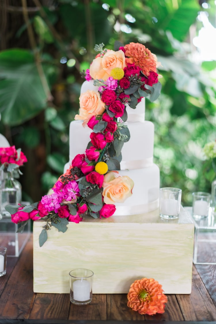 gerbera tropical beach wedding cakes