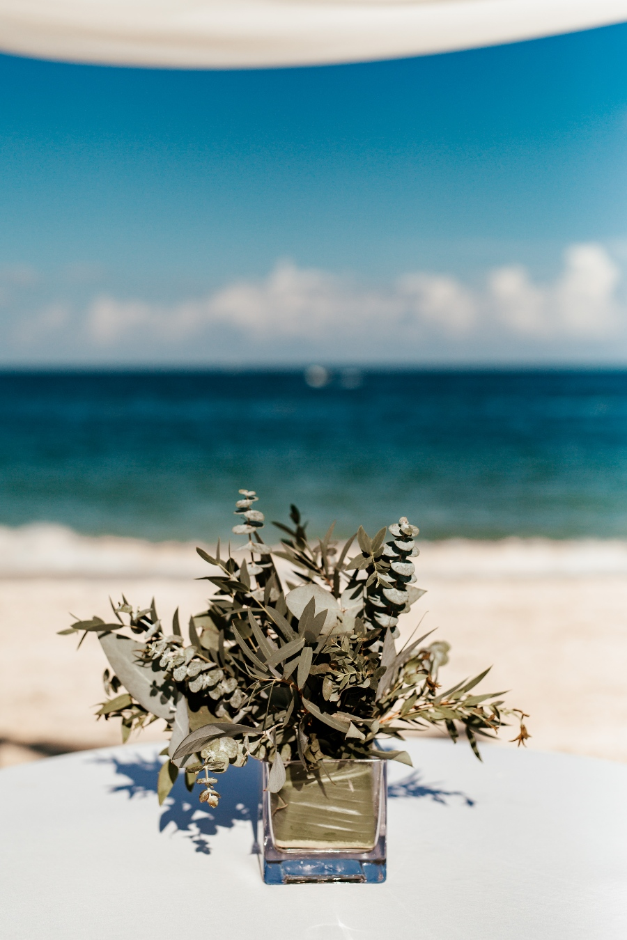 greenery beach wedding flowers