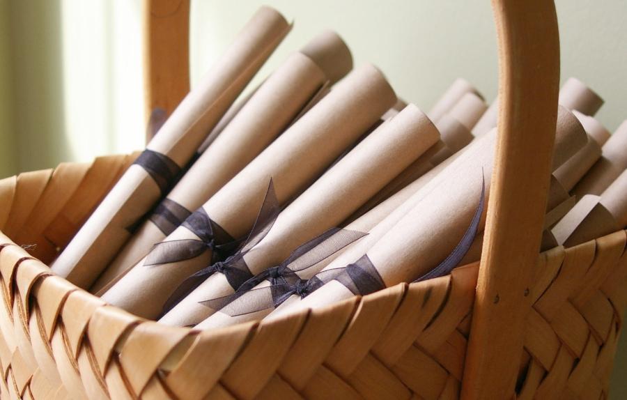 kraft wedding programs in basket