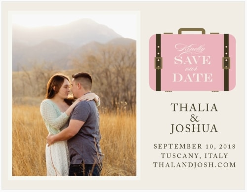 luggage destination wedding save the date