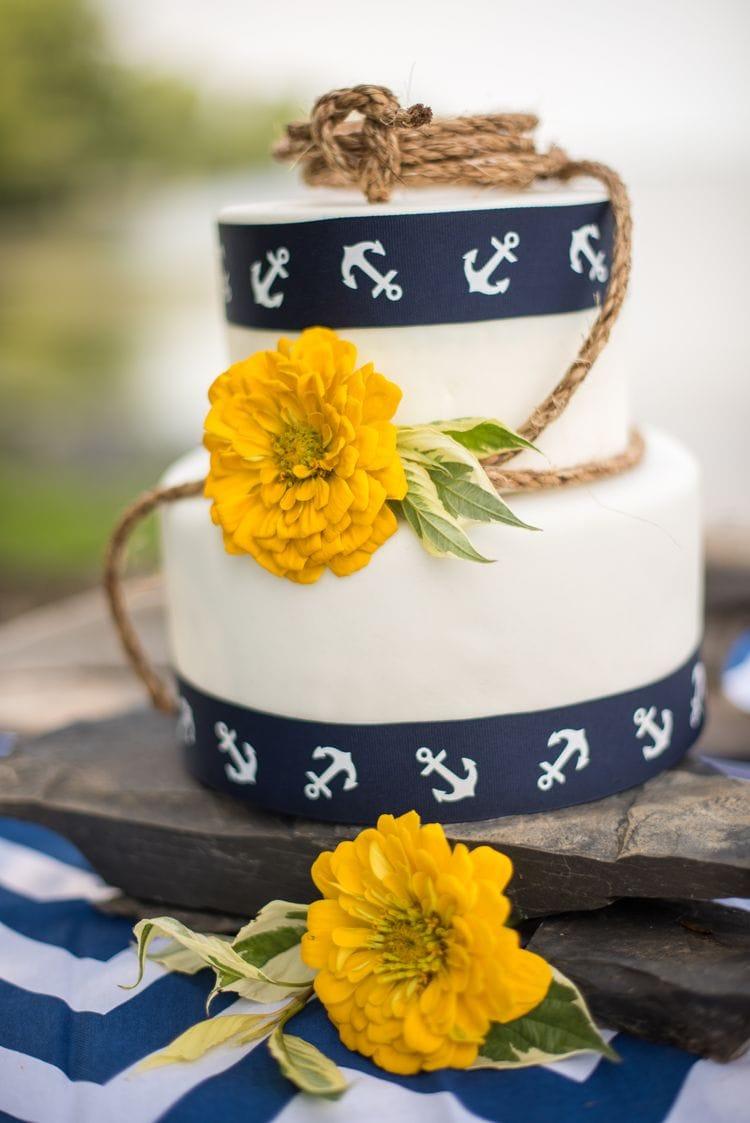 nautical destination wedding cake idea
