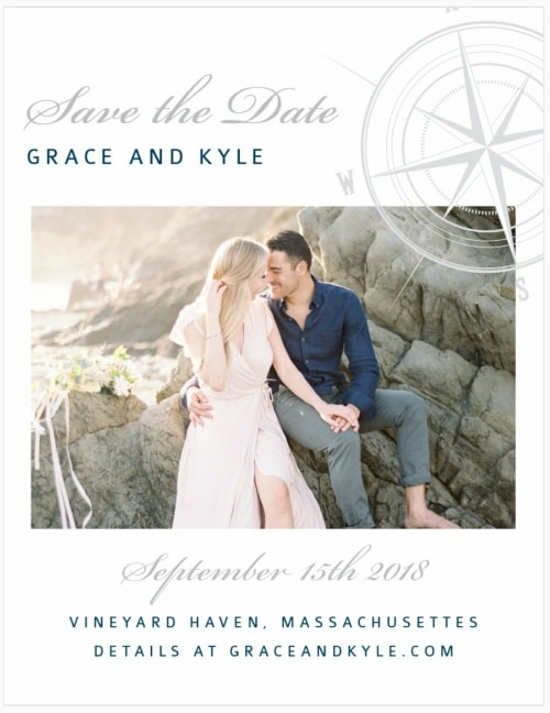 nautical destination wedding save the datecard