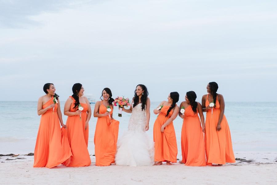 orange beach bridesmaid dresses