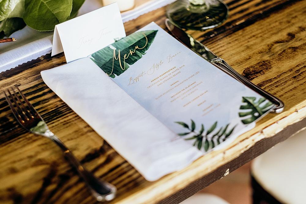 palm themed menu card
