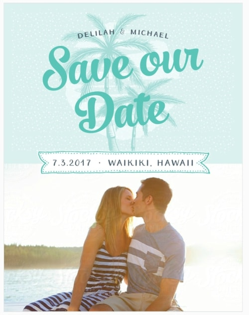 palm tree destination wedding save the date
