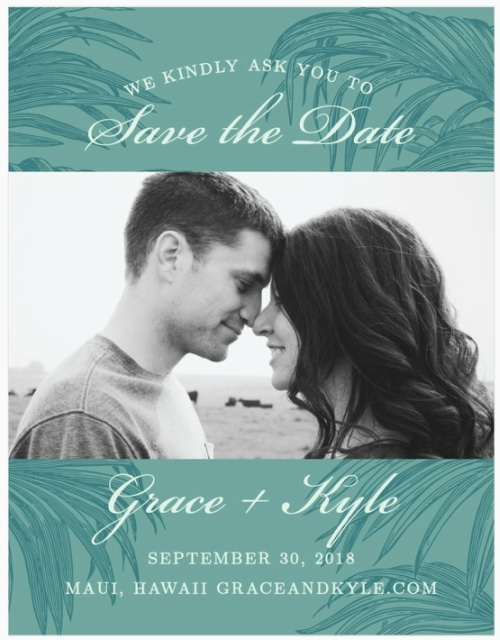 palms destination wedding save the date