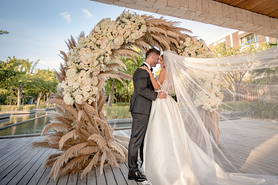 pampas grass wedding arbor