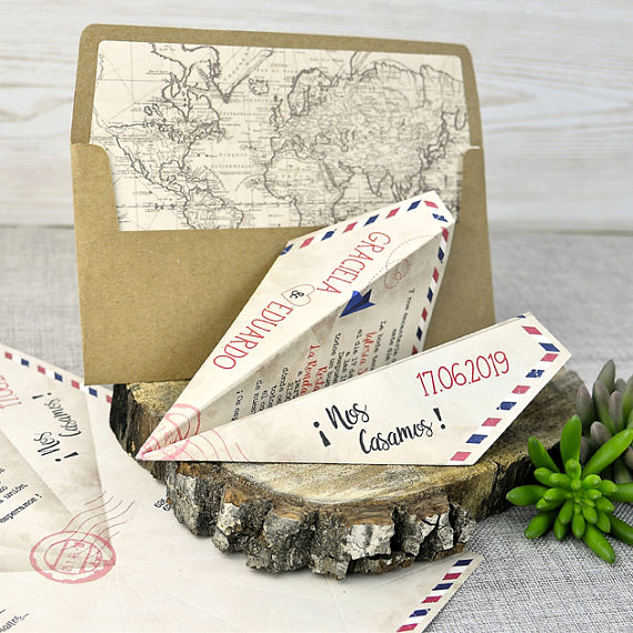 paper plane destination wedding save the date