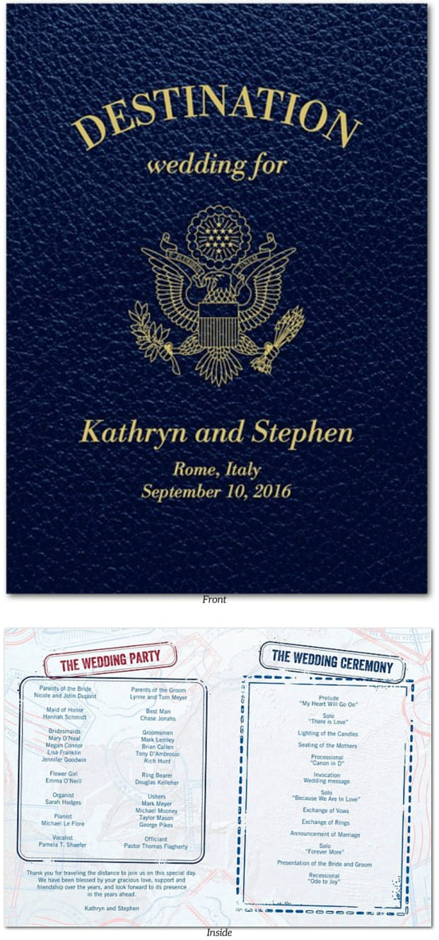 Passport destination wedding programs