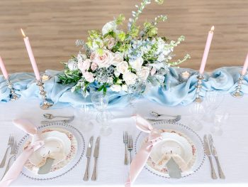 Romantic Pink and Blue Wedding Elopement Inspiration