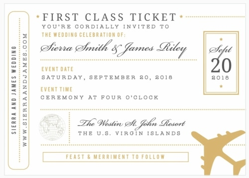 plane ticket destination wedding invitation