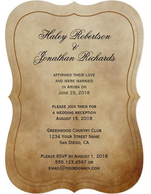 21 Beautiful At Home Wedding Reception Invitations | Destination ...