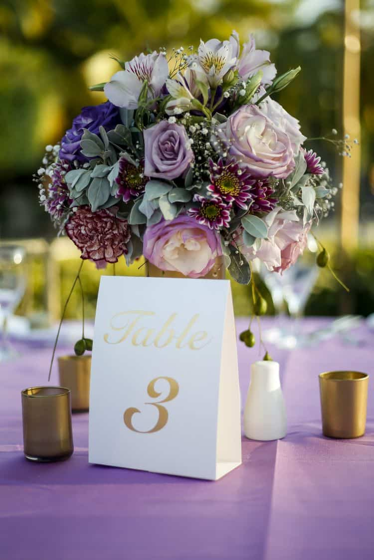 purple and gold beach wedding centerpieces