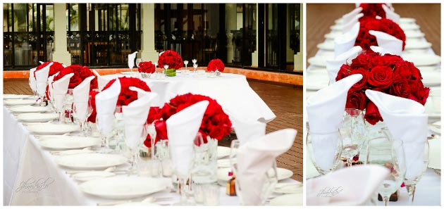riviera maya wedding reception red roses