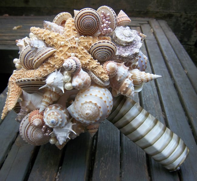 seashell beach wedding bouquets