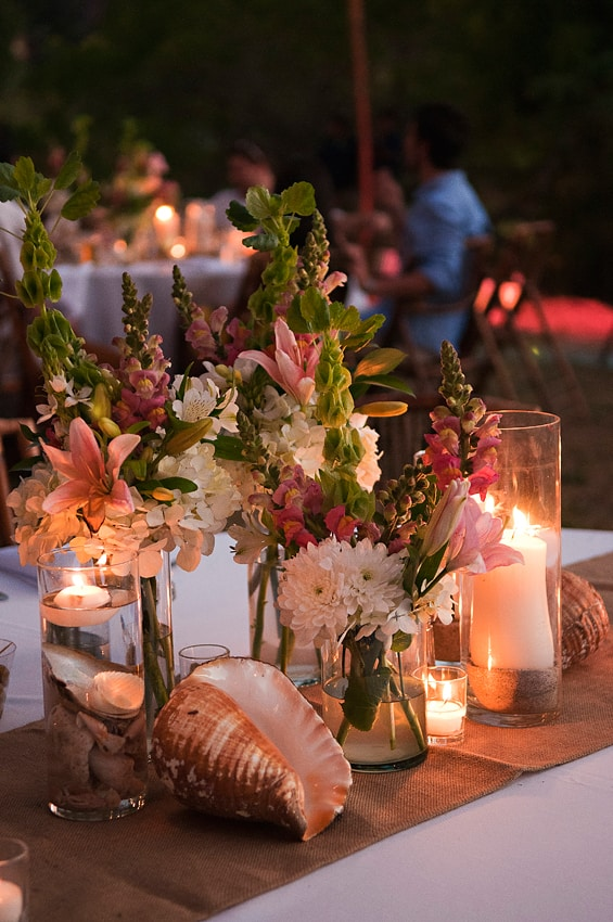 seashell beach wedding centerpiece