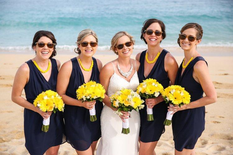short blue beach bridesmaid dresses
