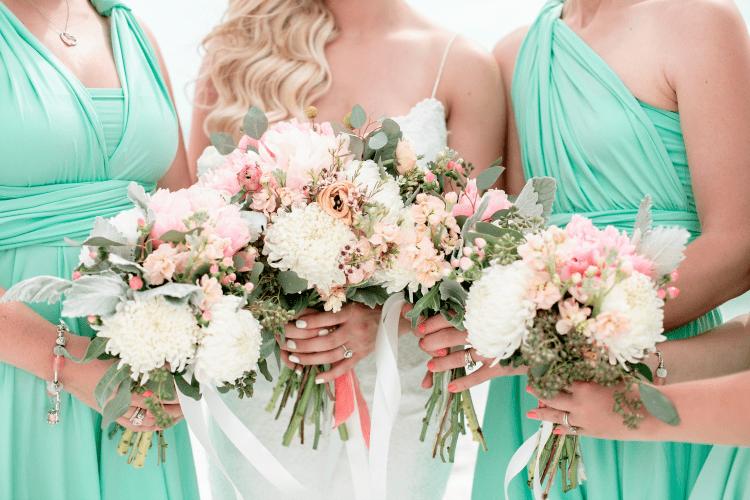 siesta key beach wedding bridesmaid bouquets