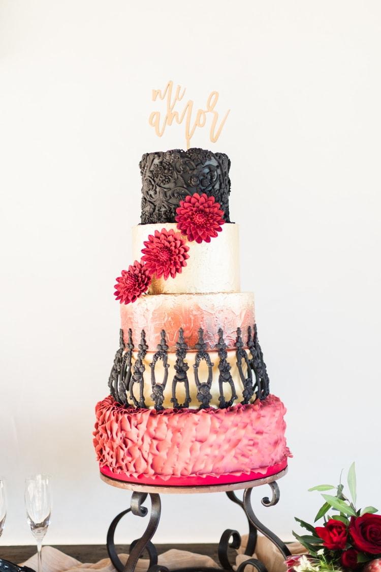 spanish inspired destination wedding cake