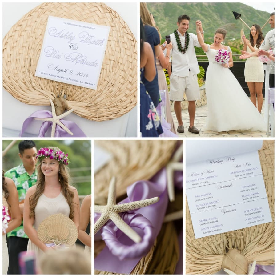 straw fan wedding programs