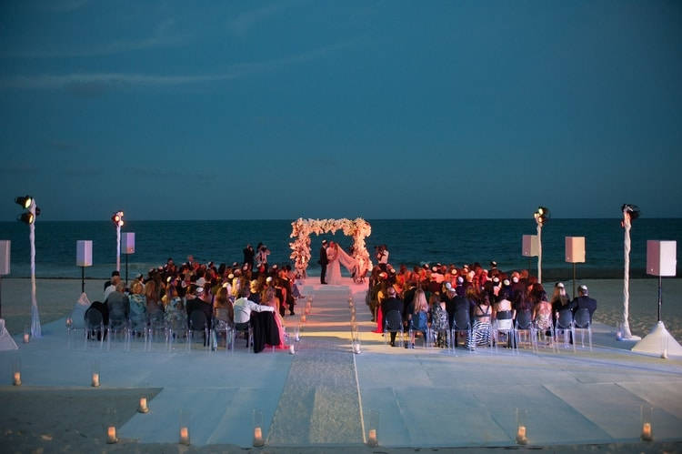 sunset beach wedding at Banyan Tree Mayakoba