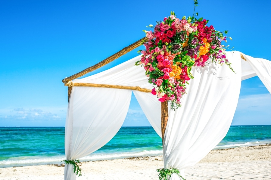 tropical beach wedding arch