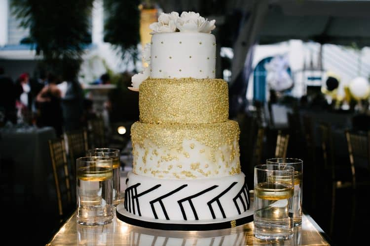 black, white and gold wedding cake