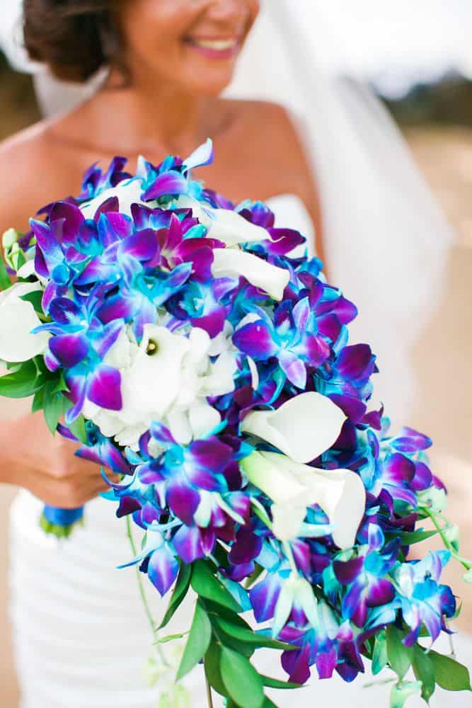 blue and purple orchid cascading bouquet